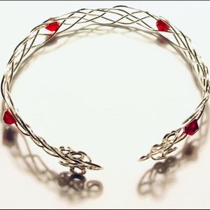 Jewelry - Braided Silver Wire Bracelet with Ruby Beads